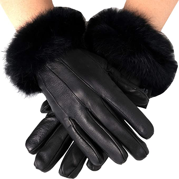 Women's Lambskin Leather Winter Wrist Gloves with Rabbit Fur on Cuff Black