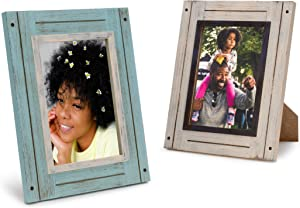 Rustic 5x7 Picture Frames 5x7 Frame Set of 2, White & Teal, Farmhouse Picture Frames for Wall with Real Glass, Rustic Home Decor Picture Frame