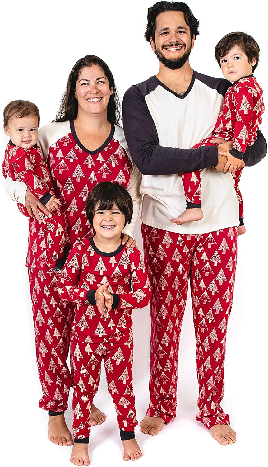 Burt's Bees Baby Family Jammies, Holiday Matching Pajamas, 100% Organic Cotton PJs, Festive Forest, Womens Small