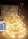 Qualizzi Starry Lights 40 Feet Xx-Long / 240 Leds with Remote Control Dimmer. Warm White Lights on Copper Wire String. Fading Fairy Effects. White