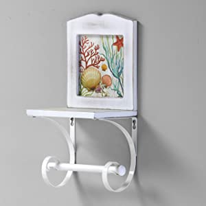 The Lakeside Collection Coastal Toilet Roll Holder for Wall - Unique, Nautical Toilet Paper Storage