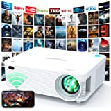 WISELAZER 5G WiFi Bluetooth Projector Full HD Outdoor Projector Native 1080P,±50° 4P/4D Keystone Support 4K&Zoom,Home Cinema,
