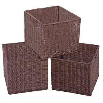 Superieur Set Of 3 Wicker Cube Rattan Storage Nest Baskets Bin Box Organizer