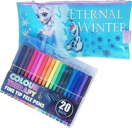 Estuche de lápices y bolígrafos de punta de fieltro, diseño de Elsa de Frozen de Disney: Amazon.es: Oficina y papelería