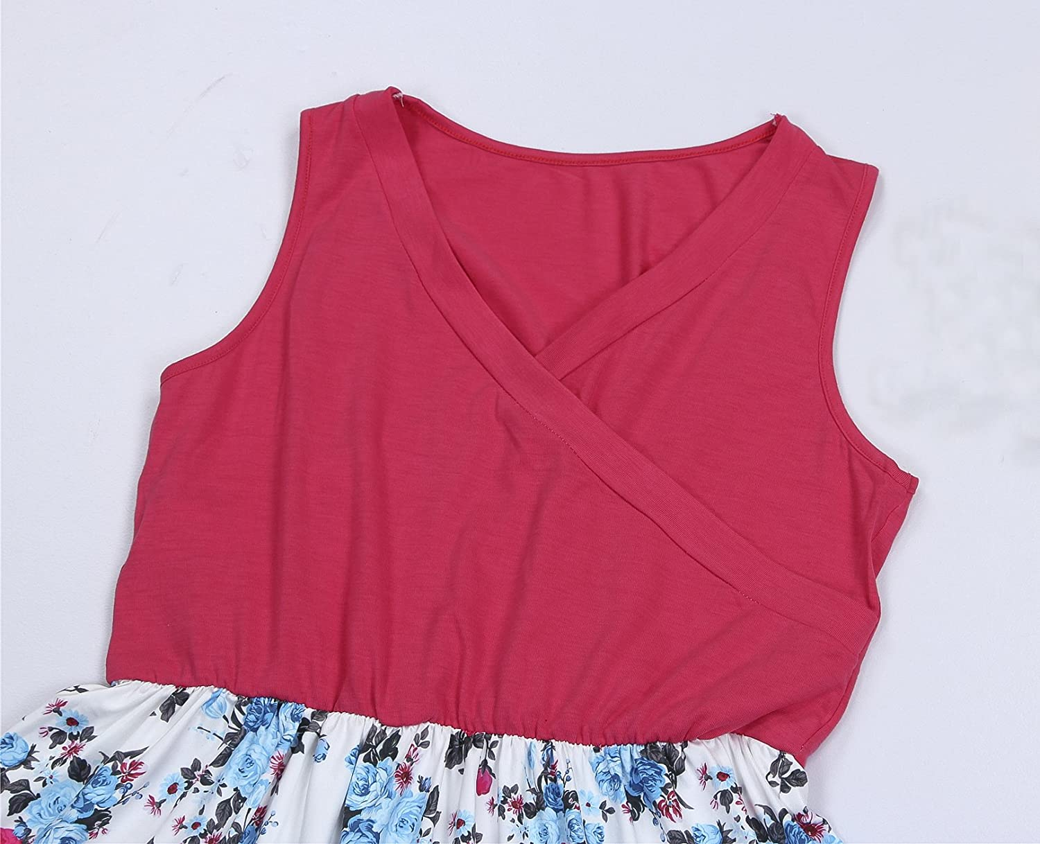 Pink and White Floral Matching Dress Mother and Daughters Sleeveless Dresses