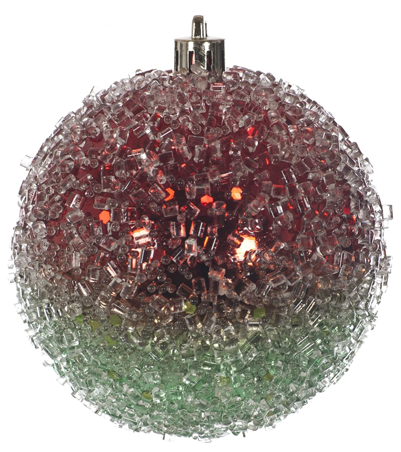 FESTIVE PRODUCTIONS P002085 6 X 8cm Glastic Two Tone Ice Ball, Red/Green