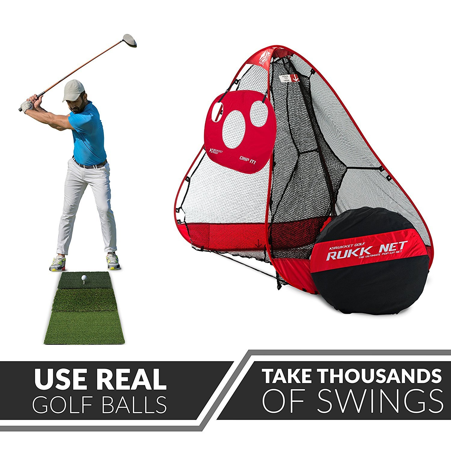 Rukket 4pc Golf Bundle | 10x7ft Portable Driving Net | Chipping Target | Tri-Turf Hitting Mat | Carry Bag | Practice Outdoor and Indoor by Rukket Sports (Image #2)