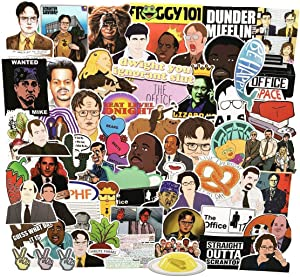 The Office Merchandise Stickers 62 pc, for The Office TV Show, Dunder Mifflin Vinyl Sticker for Bumper Laptops Hydro Flask Water Bottles Phone Case - Funny Quote Sticker for Micheal Dwight