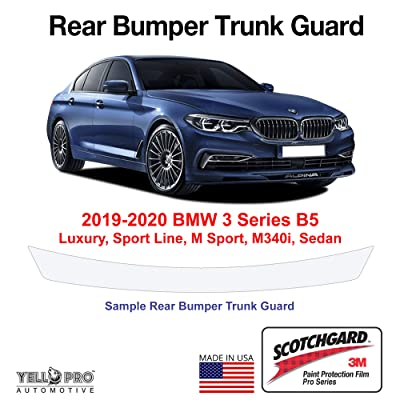 YelloPro Custom Fit Rear Trunk Bumper Edge 3M Scotchgard Paint Protector Film Anti Scratch Clear Bra Guard Cover Self Healing Kit for 2020 2020 BMW 3 Series Luxury, Sport Line, M Sport, M340i, Sedan: Automotive