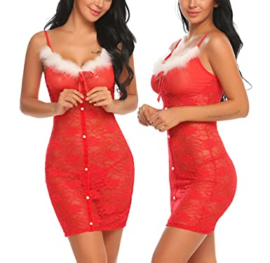 b13d972a8 Amazon.com  Avidlove Womens Lace Chemise Lingerie Set Red Christmas  Babydoll Dress Red M  Clothing