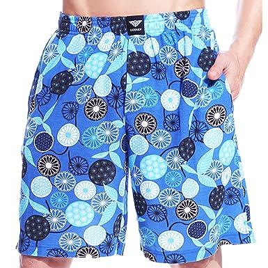 Godsen Mens 2 Pack Knit Cotton Shorts Boardshort Lounge Sleep Pajamas Bottoms