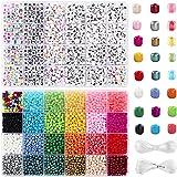 UOONY 7200 cuentas de cristal de 4 mm y 1600 cuentas de letras de estilo para pulseras, joyería y manualidades con cuerda de