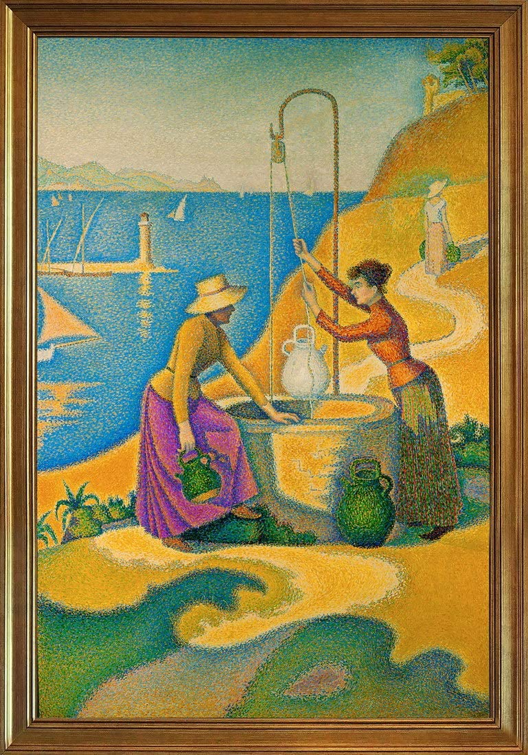 Berkin Arts Classic Framed Paul Signac Giclee Canvas Print Paintings Poster Home Decor Reproduction(Women at Losslessf Well) #JK