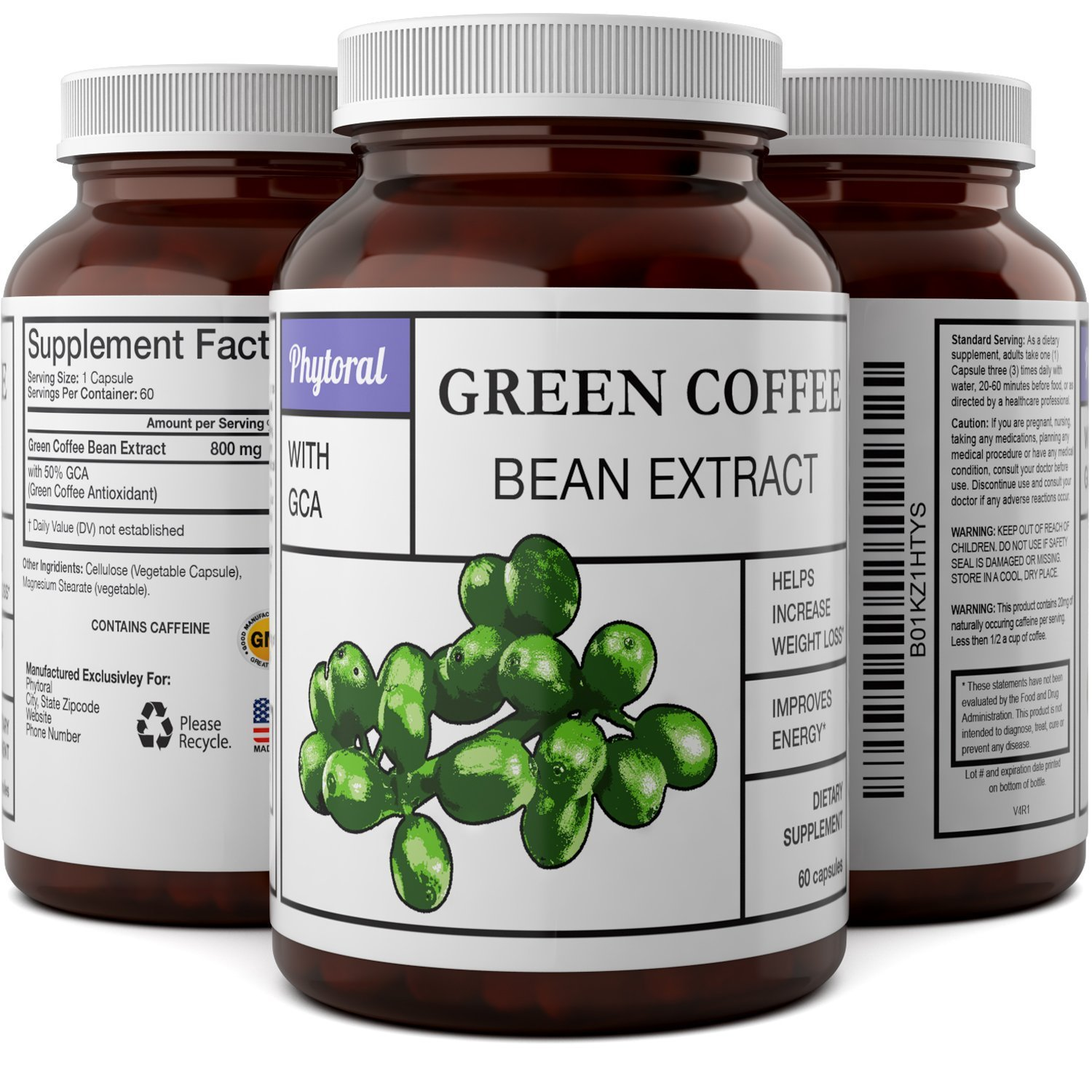 Pure Green Coffee Bean Extract Weight Loss Pills - Natural Fat Burner Pills for Men & Women Chlorogenic Acid Metabolism Booster Appetite Suppressant Capsules Potent Energy Boost Supplement - Phytoral