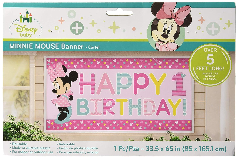 Amazon.com: 1er Cumpleaños Minnie Mouse Banner Suministros ...