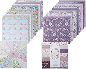 SKPPC 48 Sheets Cardstock Paper Pad 6x6 Inches, Lovely Garden Cardmaking Paper Floral Spring Themed Single-sided Patterns Scrapbook Paper Printing Decorative Paper Craft Paper Photo Album Decor,2 Pack