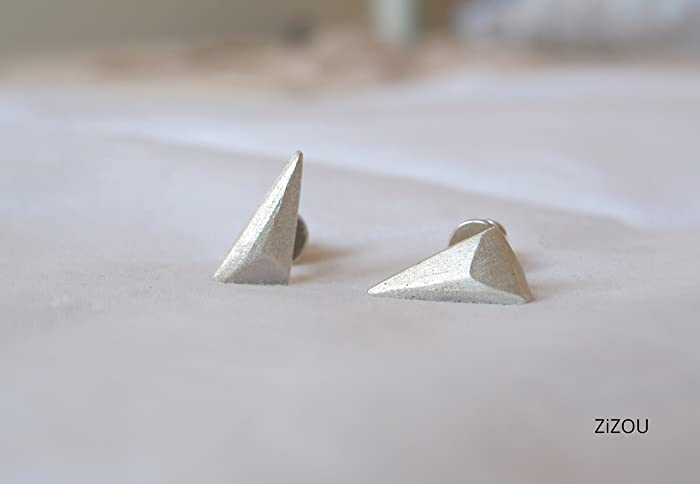 972d5a15b Minimal geometric triangle Stud Earrings - Handmade Sterling silver 925 Studs  Earring with Push Back - Small Unique ...