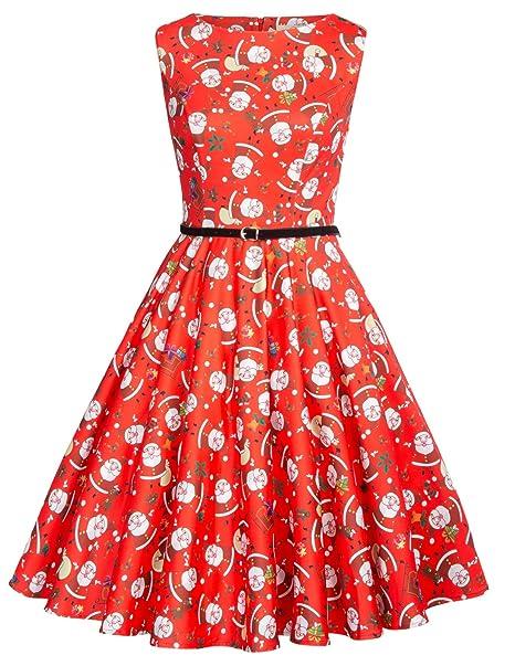 Vestido Vintage Para Navidad Estampado Rojo Navidad Patrón Papá Noel XL