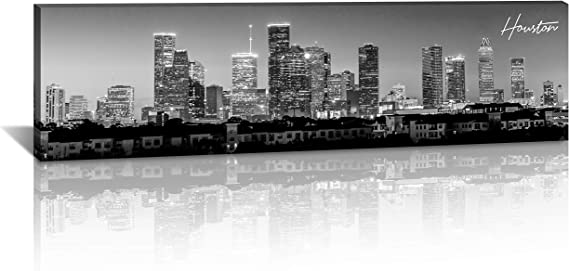 BLINFEIRU-Black White 3 Piece Chicago Skyline Modern Art Work Cityscape Pictures Paintings on Canvas Wall Art Wall Pictures Ready to Hang 16x16inchx3