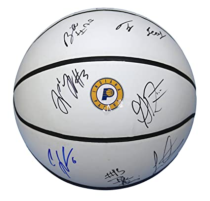 3c85da6077d Indiana Pacers 2017-18 Team Autographed Signed White Panel Basketball  Sabonis Turner Stephenson at Amazon s Sports Collectibles Store