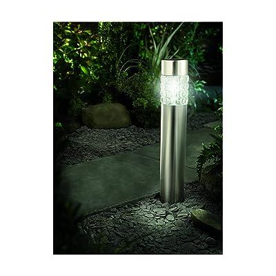 Cole & Bright 6762 814567025280 6762-Motion Sensor Stainless Steel Bollard Textured Gl : Garden & Outdoor