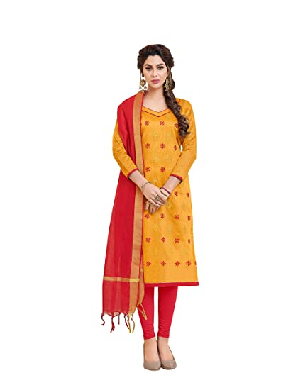 feb108183c9e Viva N Diva Women's Cotton Dress Material (26776_Mustrad_one Size): Amazon. in: Clothing & Accessories