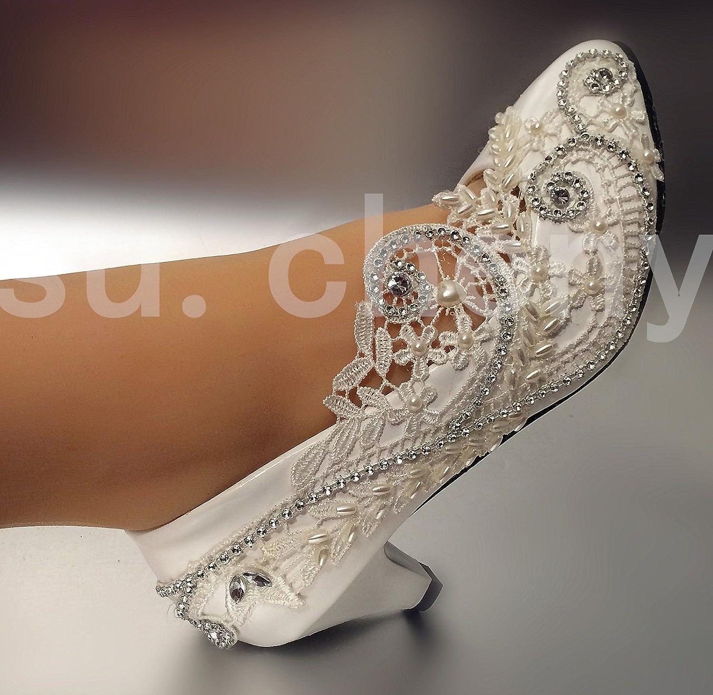 JINGXINSTORE 5cm 2  Ferse Spitze Hellelfenbein Kristall Hochzeit Schuhe Braut Pumpen Größe US 5-12