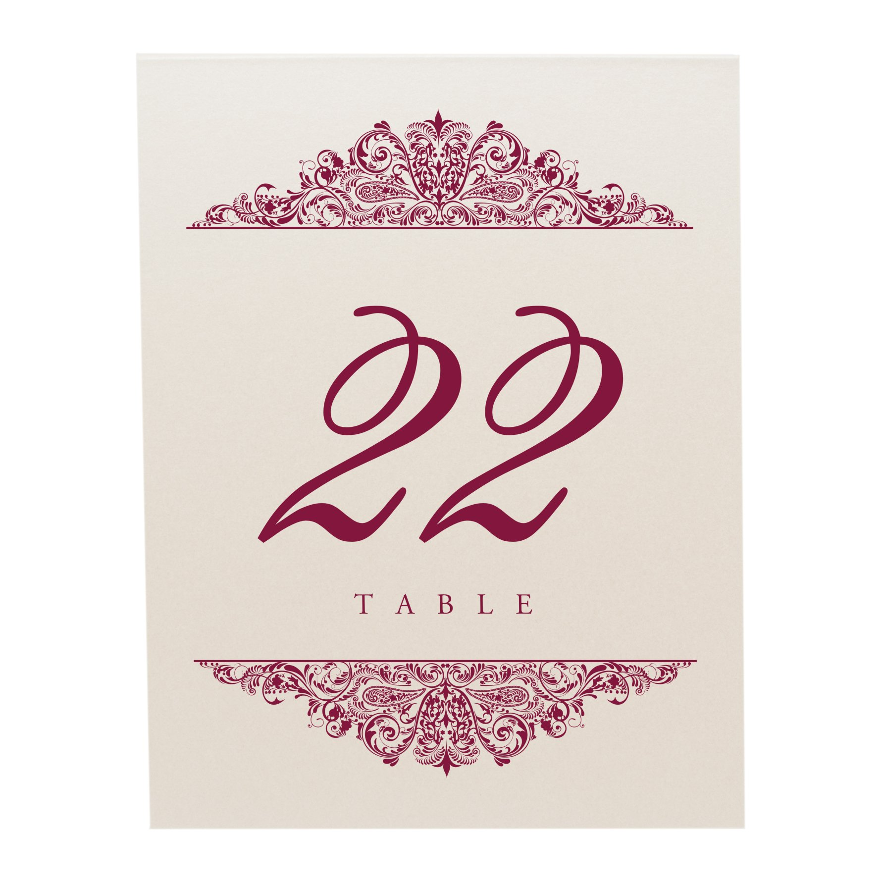 Documents and Designs Paisley Table Numbers, Champagne, Burgundy, 1-10 by Documents and Designs (Image #3)