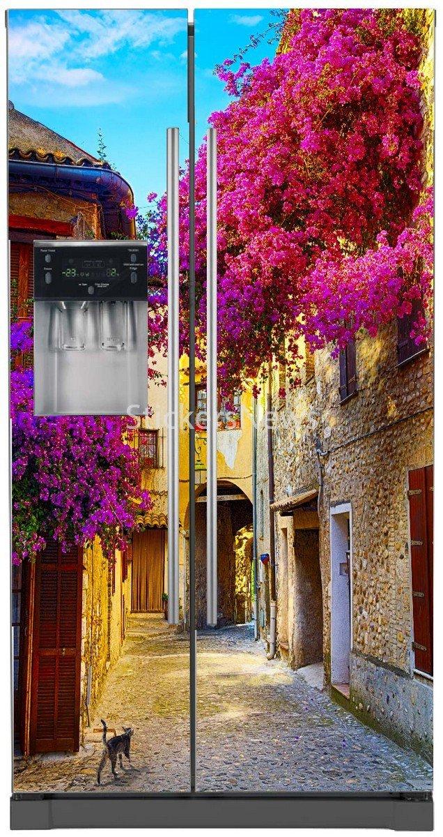 /Adesivo per frigo americano 5765 100/x 180/cm Stickersnews/ fantasia villaggio fiorito