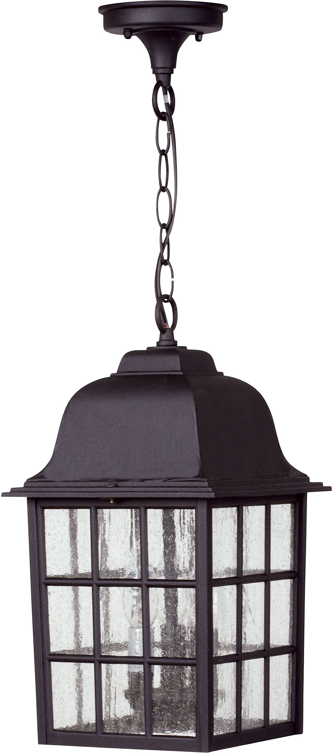 Craftmade Z571-05 Hanging Lanterns with Seeded Glass Shades, Black