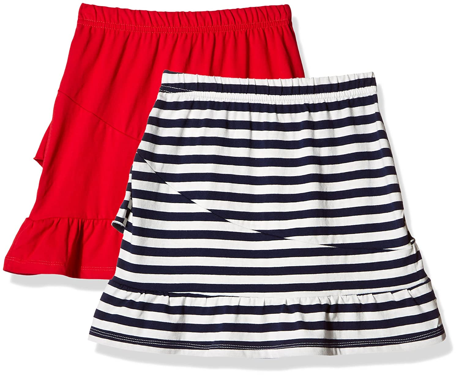 Kid Nation Girls 2 Packs 100/% Cotton Flared Stripe and Solid Pull On Jersey Skirt