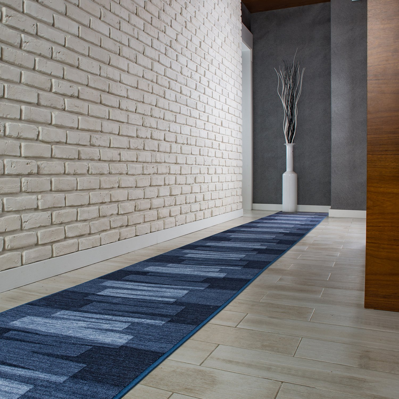 VIA VENETO Teppichläufer Küchenmatte Flur Brücke Blau 80cmx500cm