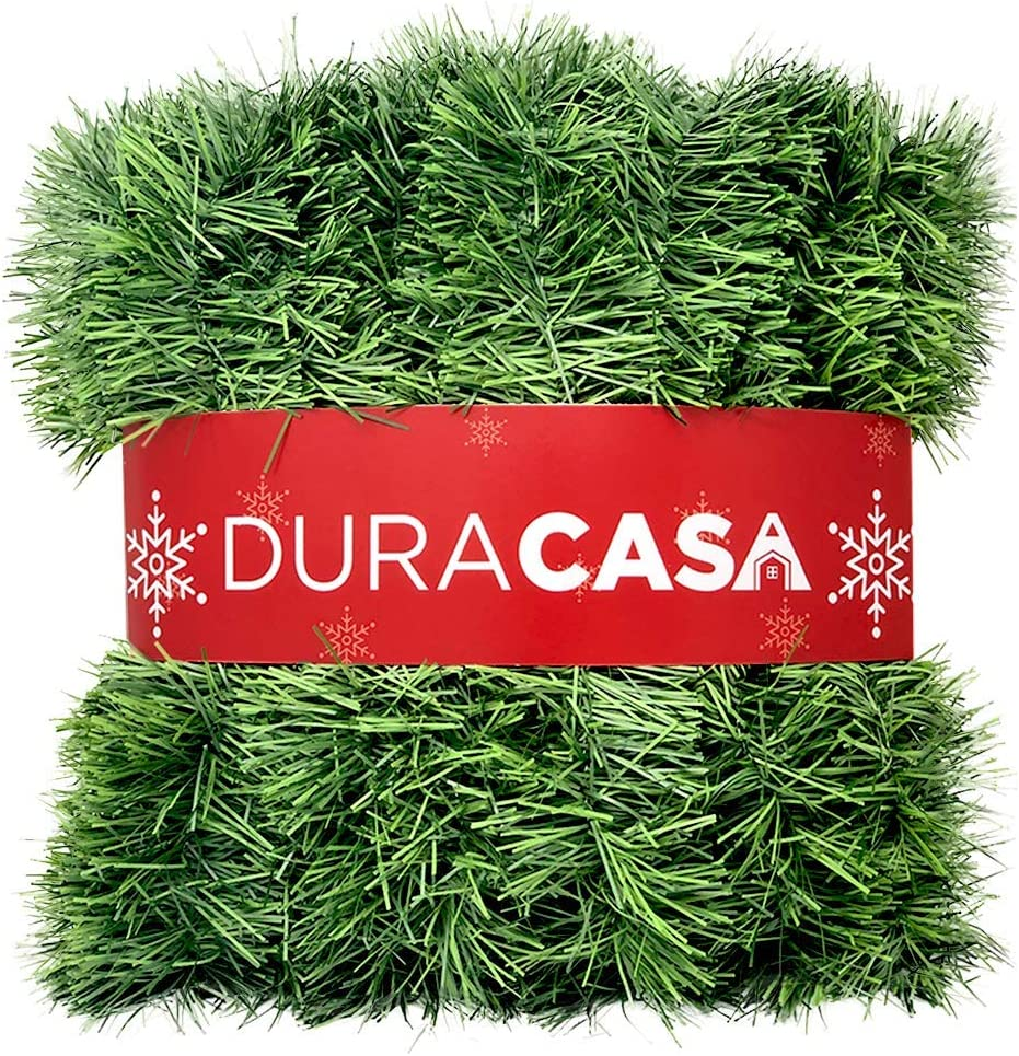DuraCasa 50 Foot Christmas Garland for Christmas Decorations, Green Non-Lit Soft Holiday Decor for Outdoor or Indoor Use (1)