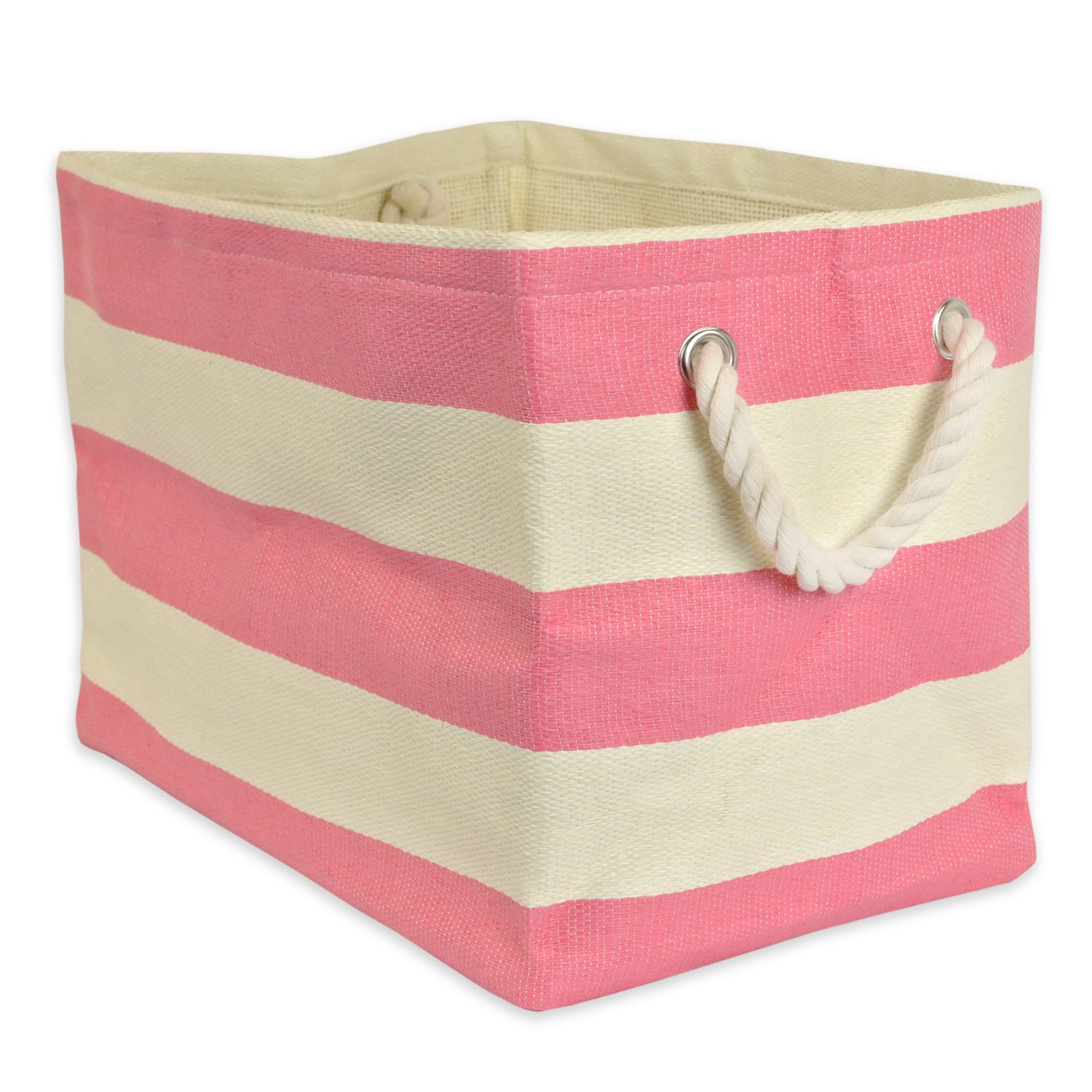 DII Woven Paper Storage Basket or Bin, Collapsible & Convenient Home Organization Solution for Office, Bedroom, Closet, Toys, & Laundry (Small - 11x10x9�), Pink Rugby Stripe