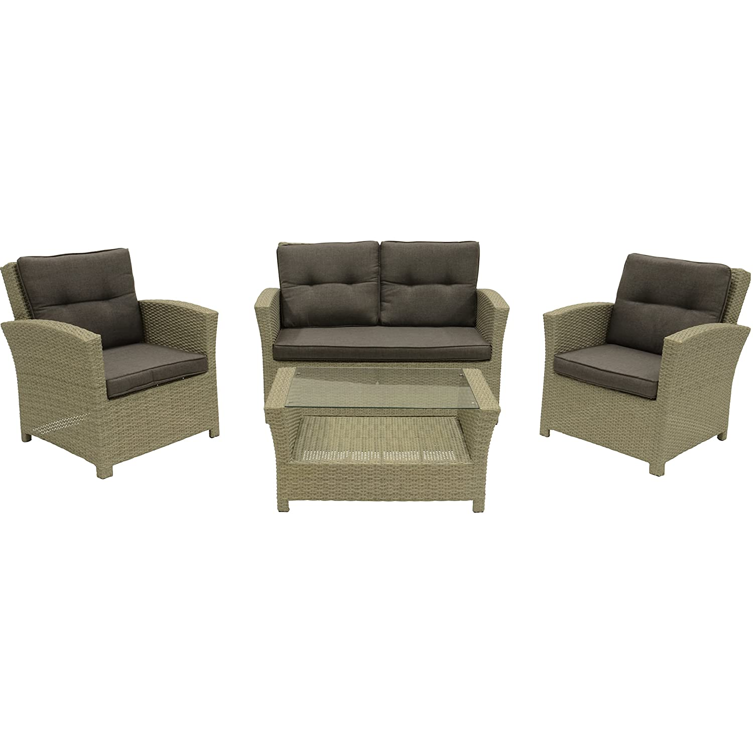 loungeset jazz pebble gartenm bel set 4 teilig 2 st hle sofa tisch mit glasplatte g nstig kaufen. Black Bedroom Furniture Sets. Home Design Ideas
