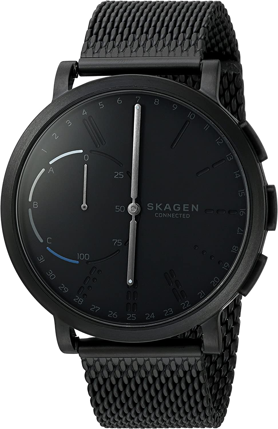 B01MQNNIBE Skagen Connected Men's Hagen Stainless Steel Mesh Hybrid Smartwatch, Color: Black (Model: SKT1109) 813giKjh7nL.UL1500_