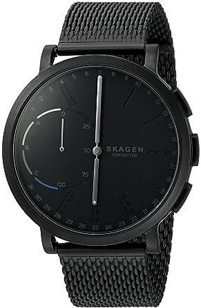 Skagen Mens 42mm Hagen Connected Black Steel-Mesh Hybrid Smart Watch