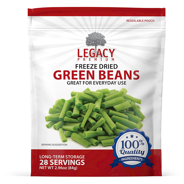 Legacy Essentials Freeze Dried Green Beans 15 Year Shelf Life