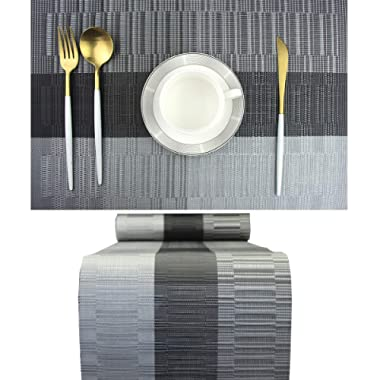 Elegant Placemats with Matching Table Runner,Washable Vinyl Woven Table Mats Sets(6pcs Placemats+1pcs Table Runner,PT-A,Black)