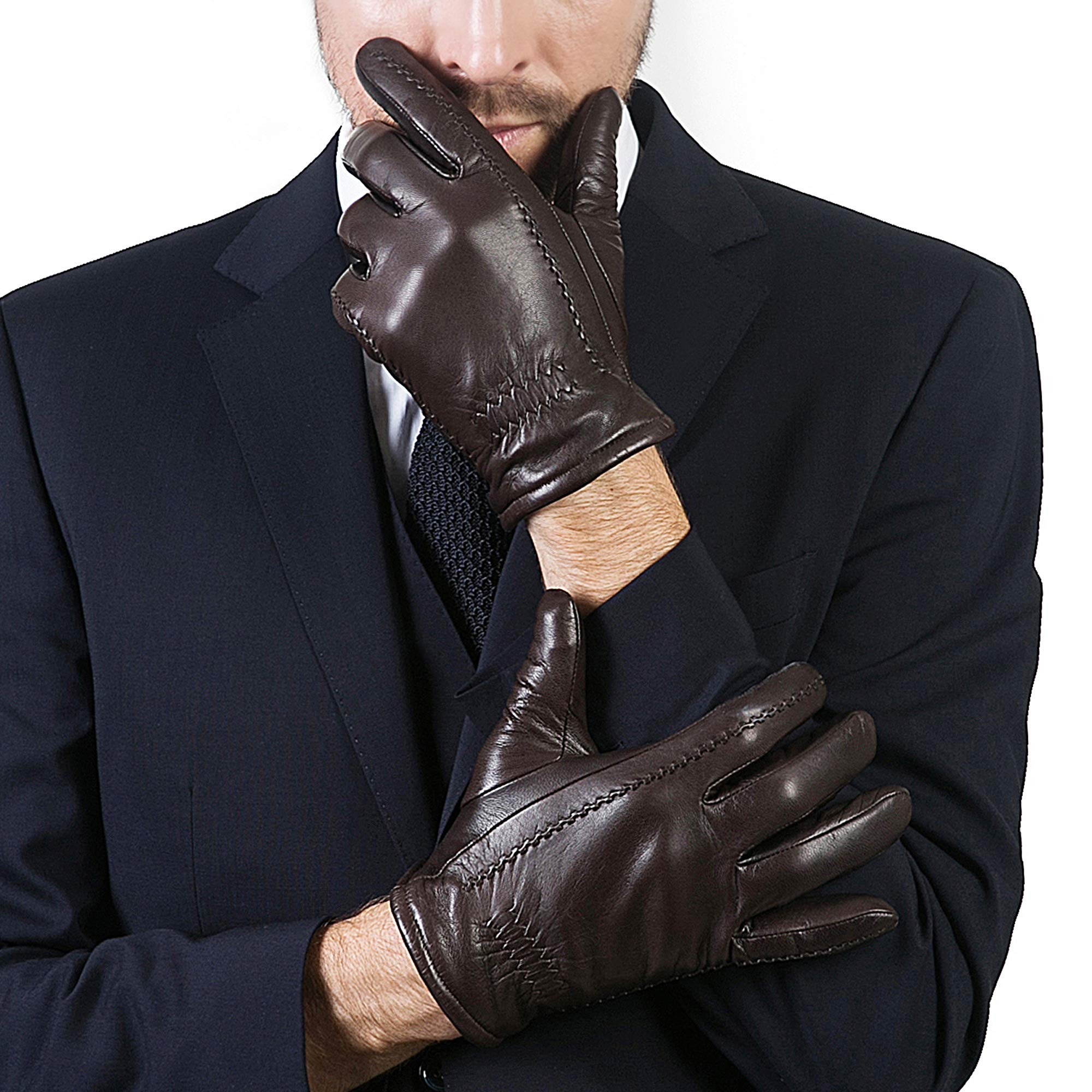 YISEVEN Men's Buttery-Soft Lambskin Leather Gloves Fleece Lined Spring Winter Hand Warm Fur Heated Lining Dress and Motorcycle Driving Real Luxury Stylish Holiday Xmas Gift,Brown 15''/XXXL