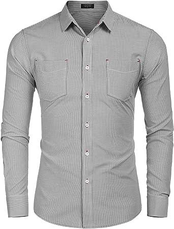 Coofandy Camisas clásicas verticales de manga larga con botones para hombre, camisas de negocios sin arrugas con bolsillo Negro Negro (M: Amazon.es: Ropa y accesorios
