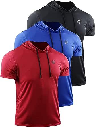 Neleus Men's Running Shirt 3 Pack Dry Fit Mesh Athletic Workout Shirts