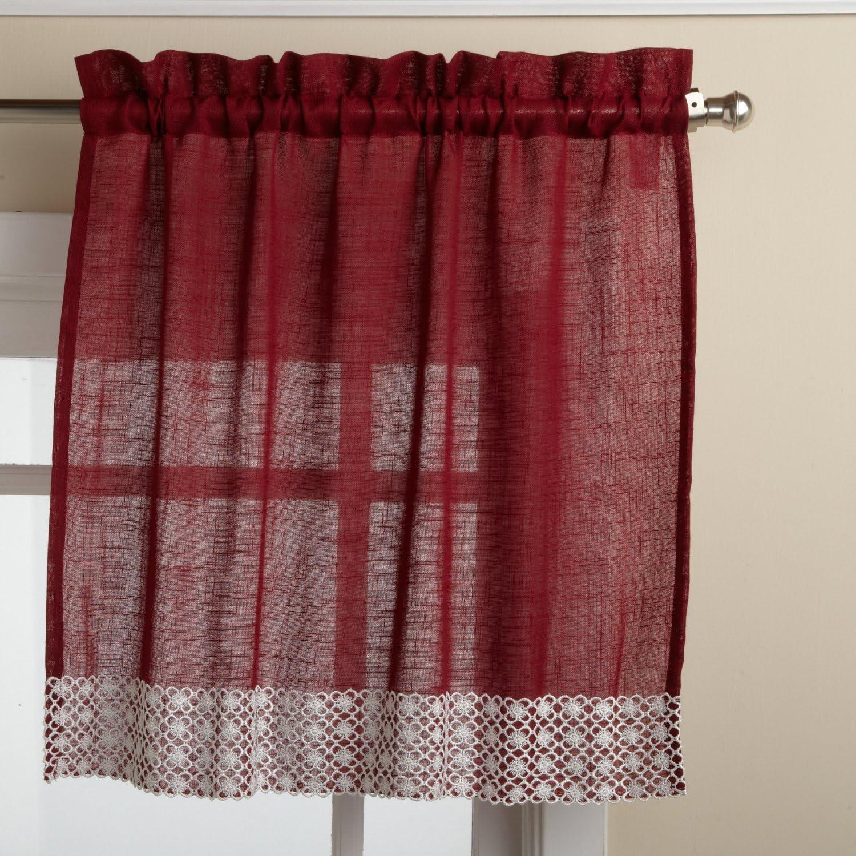 LORRAINE HOME FASHIONS Salem 60-inch x 36-inch Tier Curtain Pair, Burgundy