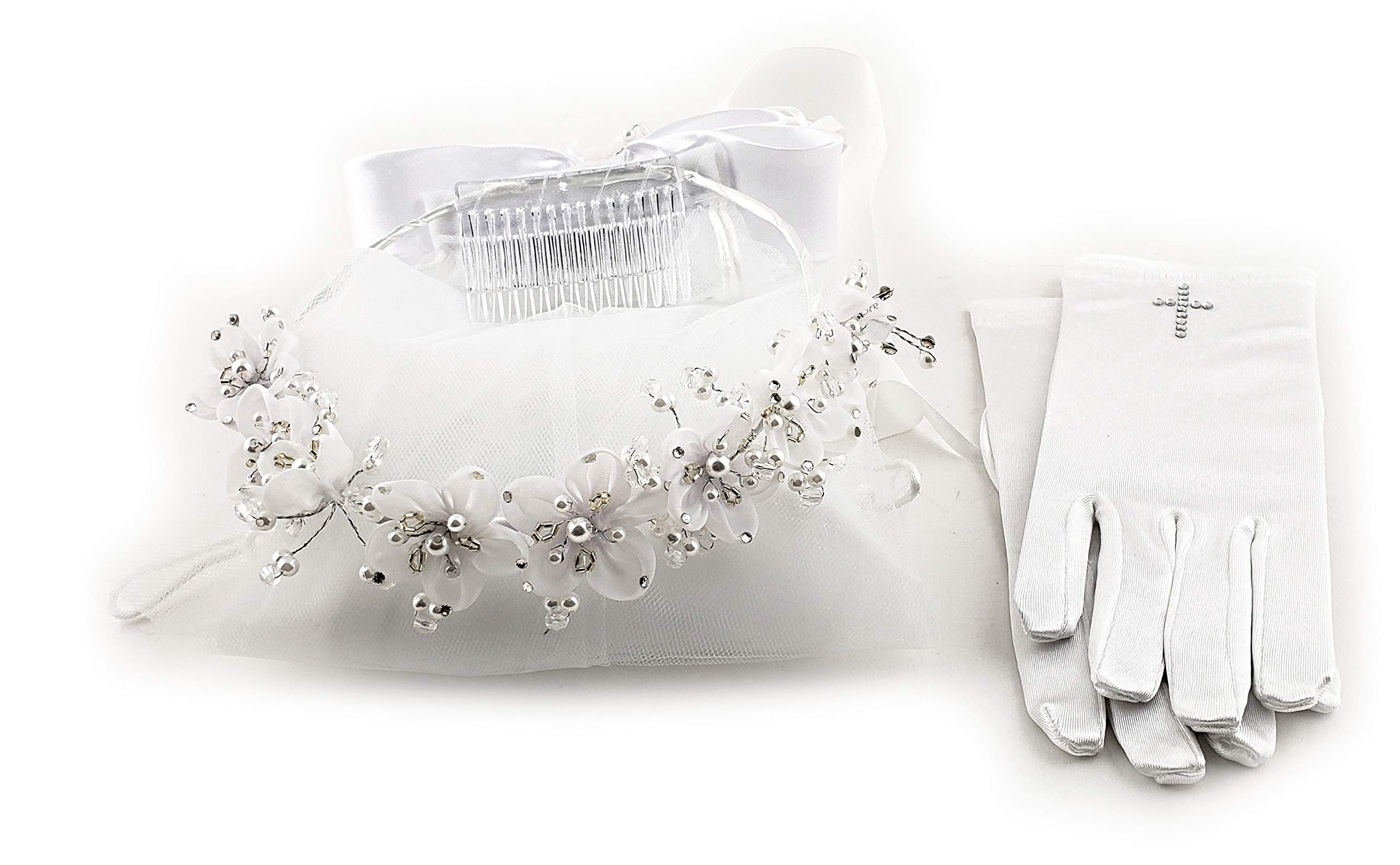 White Communion halo head piece organza pearl flowers with veil and pair of children communion gloves with rhinestone cross-CMV463