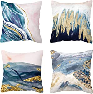 BLUETTEK Printed Abstract Blush, Blue and Turquoise Color Decorative Throw Pillow Covers Only, Soft Velvet Accent Cushion Cases 45cm x 45cm (Blush & Blue Waves)