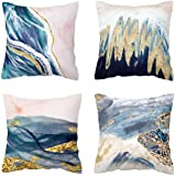 BLUETTEK Printed Abstract Blush, Blue and Turquoise Color Decorative Throw Pillow Covers Only, Soft Velvet Accent Cushion Cas