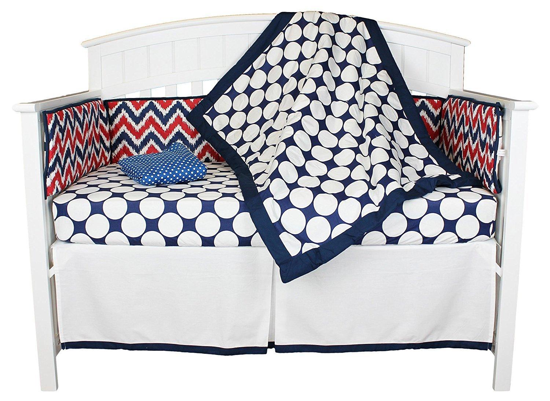 Blue//Green MMBG5CS1 Bacati Chevron and Dots 5 Piece Baby Crib Bedding Set with Bumper Pad