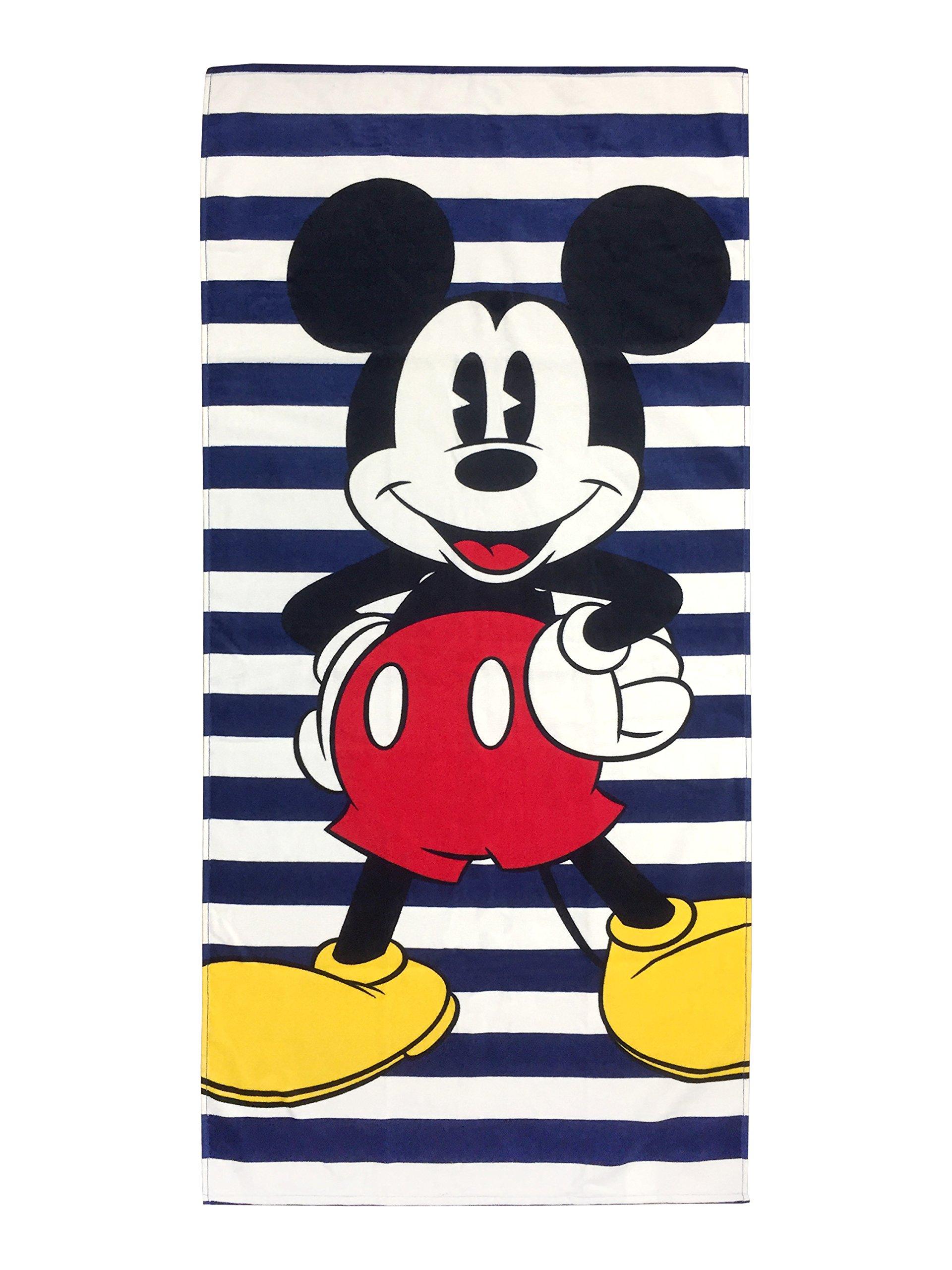 Disney Mickey Mouse Navy Stripes Cotton 28'' x 58'' Pool/Beach/Bath Towel