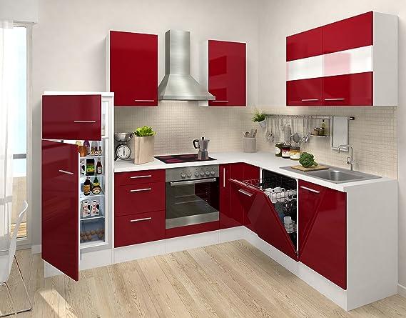 Respekta premium l form winkel küche küchenzeile weiss rot 260x200cm kühlkombi ceran umluft amazon de küche haushalt