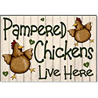 "Slobyy Pampered Chickens Live Here Cream Funny Outdoor Sign Plaque for Chicken Hen Coop House Run Garden Yard Gift Wooden Plaque 11""X7.5"""